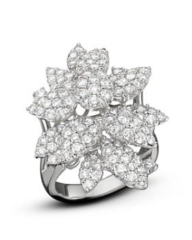 Bloomingdale's - Diamond Cluster Flower Statement Ring in 14K White Gold, 3.10 ct. t.w. - 100% Exclusive