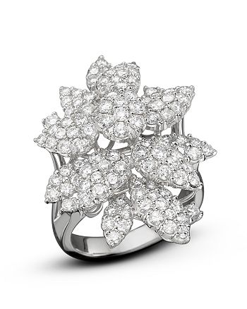 Bloomingdale's - Diamond Cluster Flower Statement Ring in 14K White Gold, 3.10 ct. t.w.- 100% Exclusive