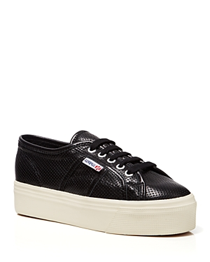 Superga Lace Up Platform Sneakers - Perforated Leather