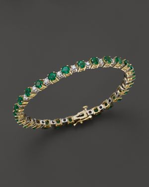 Emerald and Diamond Bracelet in 14K Yellow Gold - 100% Exclusive
