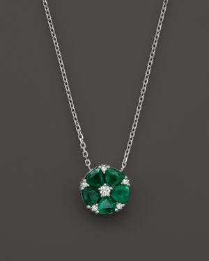Emerald and Diamond Flower Pendant Necklace in 14K White Gold, 16 - 100% Exclusive
