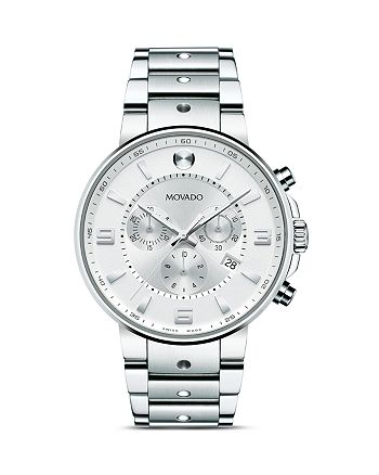 Movado - Men's SE Pilot Chronograph with Stainless Steel Bracelet and Silver dial, 42 mm