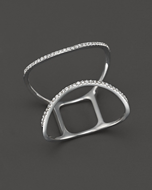 Diamond Curved Open Ring in 14K White Gold, .16 ct. t.w. - 100% Exclusive