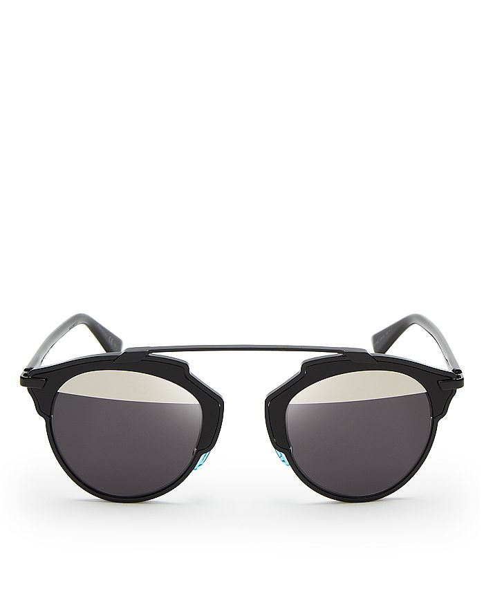 Dior Women's So Real Split Lens Mirrored Sunglasses, 48mm In Shiny Black/gray Mirror