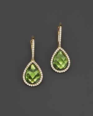 Peridot and Diamond Drop Earrings in 14K Yellow Gold - 100% Exclusive