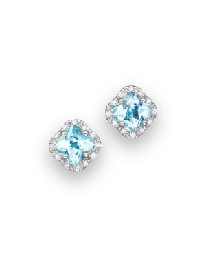 Blue Topaz and Diamond Stud Earrings in 14K White Gold - 100% Exclusive