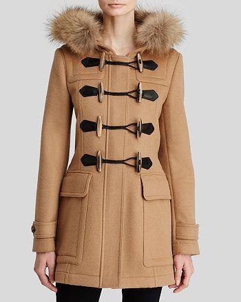 Burberry Blackwell Wool Duffle Coat With Fur Hood