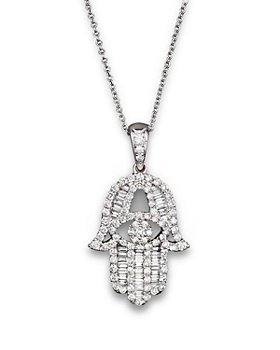 Bloomingdale's - Diamond and Baguette Hamsa Pendant Necklace in 14K White Gold, 0.55 ct. t.w. - 100% Exclusive