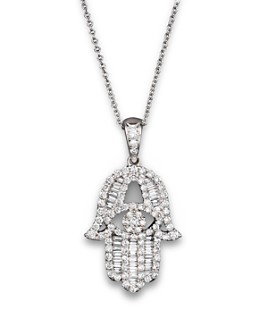 Bloomingdale's - Diamond and Baguette Hamsa Pendant Necklace in 14K White Gold, .55 ct. t.w. - 100% Exclusive