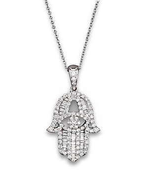 Diamond and Baguette Hamsa Pendant Necklace in 14K White Gold, .55 ct. t.w. - 100% Exclusive