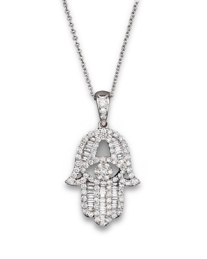 Bloomingdale's Diamond and Baguette Hamsa Pendant Necklace in 14K White Gold, 0.55 ct. t.w. - 100% Exclusive  | Bloomingdale's