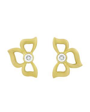 CARELLE DIAMOND FLORETTE EARRINGS IN 18K YELLOW GOLD