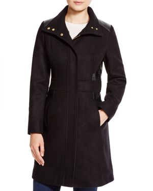 Via Spiga Faux Leather Trim Coat