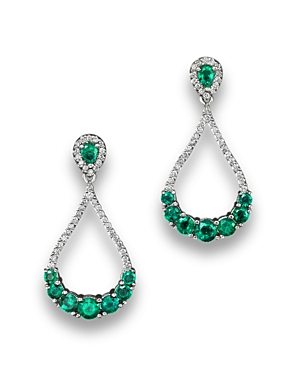 Emerald and Diamond Drop Earrings in 14K White Gold - 100% Exclusive