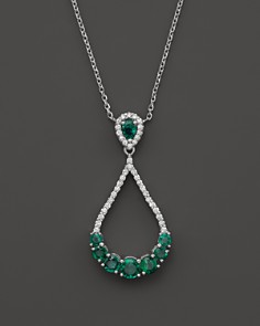 "Bloomingdale's - Emerald and Diamond Teardrop Pendant Necklace in 14K White Gold, 16"" - 100% Exclusive"