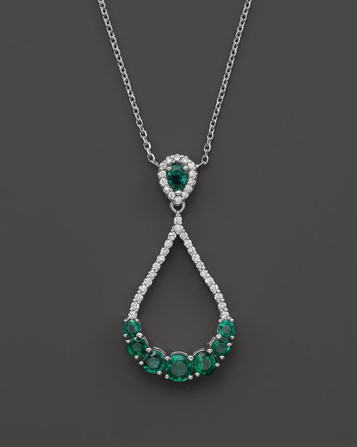 """Bloomingdale's - Emerald and Diamond Teardrop Pendant Necklace in 14K White Gold, 16""""- 100% Exclusive"""