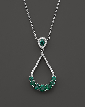 Emerald and Diamond Teardrop Pendant Necklace in 14K White Gold, 16 - 100% Exclusive