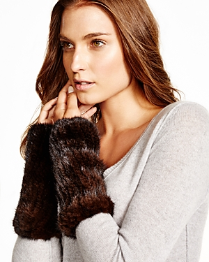 Maximilian Knitted Mink Fingerless Gloves at Bloomingdale's