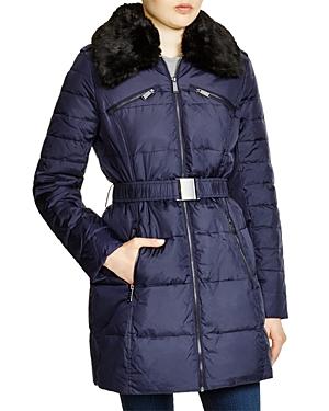 Dkny Faux Fur Trim Belted Puffer Coat-Women