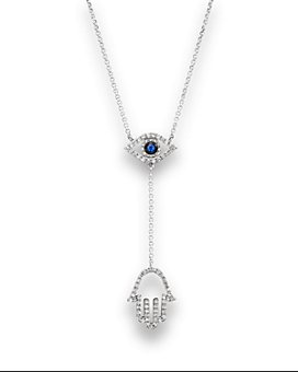 """Bloomingdale's - Sapphire and Diamond Evil Eye Hamsa Y Necklace in 14K White Gold, 16""""- 100% Exclusive"""