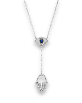 "Bloomingdale's - Sapphire and Diamond Evil Eye Hamsa Y Necklace in 14K White Gold, 16"" - 100% Exclusive"