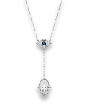 Sapphire and Diamond Evil Eye Hamsa Y Necklace in 14K White Gold, 16
