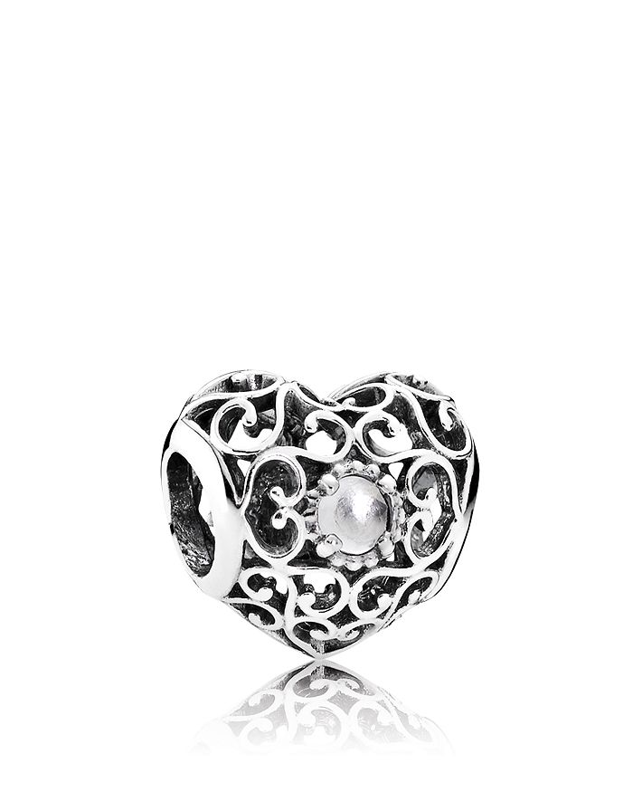 PANDORA - Charm - Sterling Silver & Crystal April Signature Heart