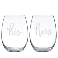 kate spade new york Two Of A Kind His & Hers Stemless Wine Glass, Set of 2 - Bloomingdale's_0