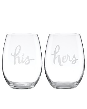 kate spade new york - Two Of A Kind His & Hers Stemless Wine Glass, Set of 2