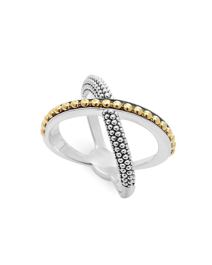 LAGOS - Sterling Silver and 18K Gold Enso X Ring