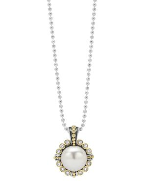 Lagos Cultured Freshwater Pearl and Diamond Pendant Necklace with 18K Gold, 16