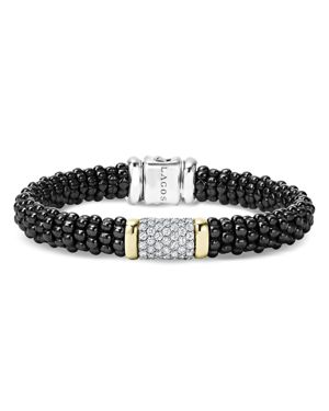 Lagos Black Caviar Ceramic and Pave Diamond Bracelet with 18K Gold and Sterling Silver