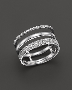Diamond Triple Row Band Ring in 14K White Gold, .30 ct. t.w. - 100% Exclusive