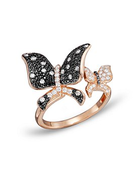 Bloomingdale's - Black and White Diamond Butterfly Statement Ring in 14K Rose Gold- 100% Exclusive