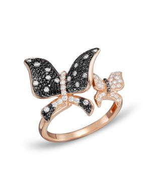Black and White Diamond Butterfly Statement Ring in 14K Rose Gold - 100% Exclusive