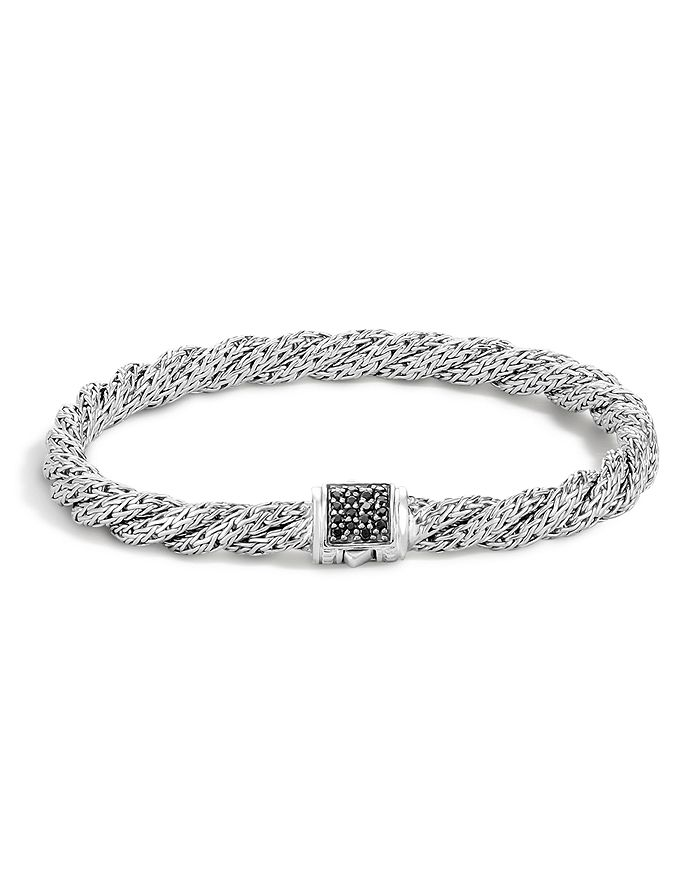 JOHN HARDY - Classic Chain Sterling Silver Lava Extra Small Flat Twisted Chain Bracelet with Black Sapphire