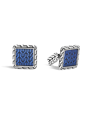 John Hardy Classic Chain Sterling Silver Enamel Square Cufflinks with Transparent Blue Enamel
