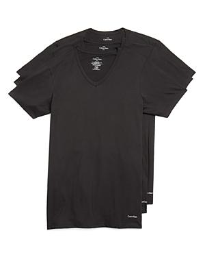 New Calvin Klein Cotton Classics V-Neck Tees, Pack of 3, Black