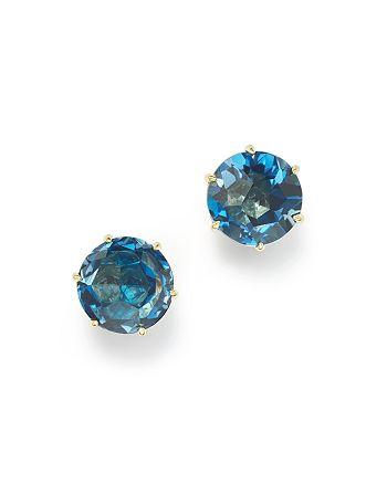 IPPOLITA - 18K Gold Rock Candy® Medium Round Stud Earrings in London Blue Topaz