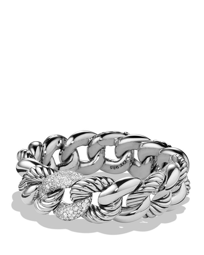 David Yurman Belmont Curb Link Bracelet With Diamonds, 18Mm In Silver