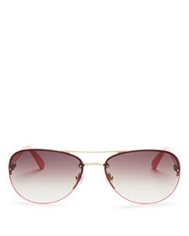 kate spade new york - Women's Beryl Brow Bar Rimless Round Sunglasses, 59mm