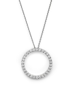 Roberto Coin - 18K White Gold and Diamond Large Circle Necklace, 16""