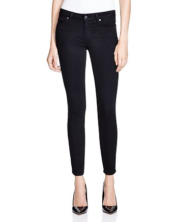 PAIGE - Verdugo Skinny Ankle Jeans in Black Shadow