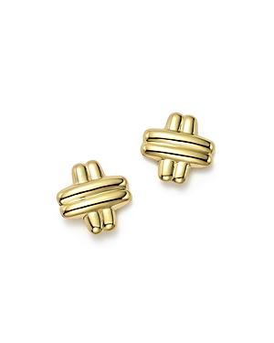 14K Yellow Gold Medium Cross Stud Earrings - 100% Exclusive