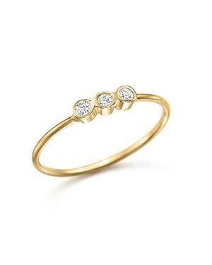 Zoe Chicco 14K Yellow Gold and Diamond Bezel-Set Ring