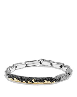 David Yurman - David Yurman Waves Pavé ID Bracelet with 18K Gold and Black Diamonds