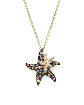 "Bloomingdale's - Multi Sapphire and Diamond Starfish Pendant Necklace in 14K Yellow Gold, 17"" - 100% Exclusive"