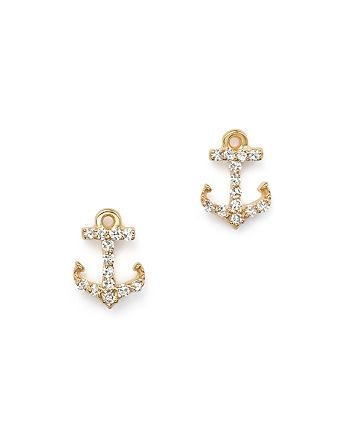 KC Designs - Diamond Anchor Earrings in 14K Yellow Gold