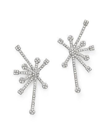KC Designs - Diamond Starburst Earrings in 14K White Gold