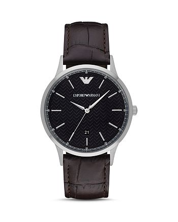 Emporio Armani - Chronograph Brown Leather Watch, 43 mm